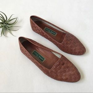 Cole Haan brown woven leather flats 8